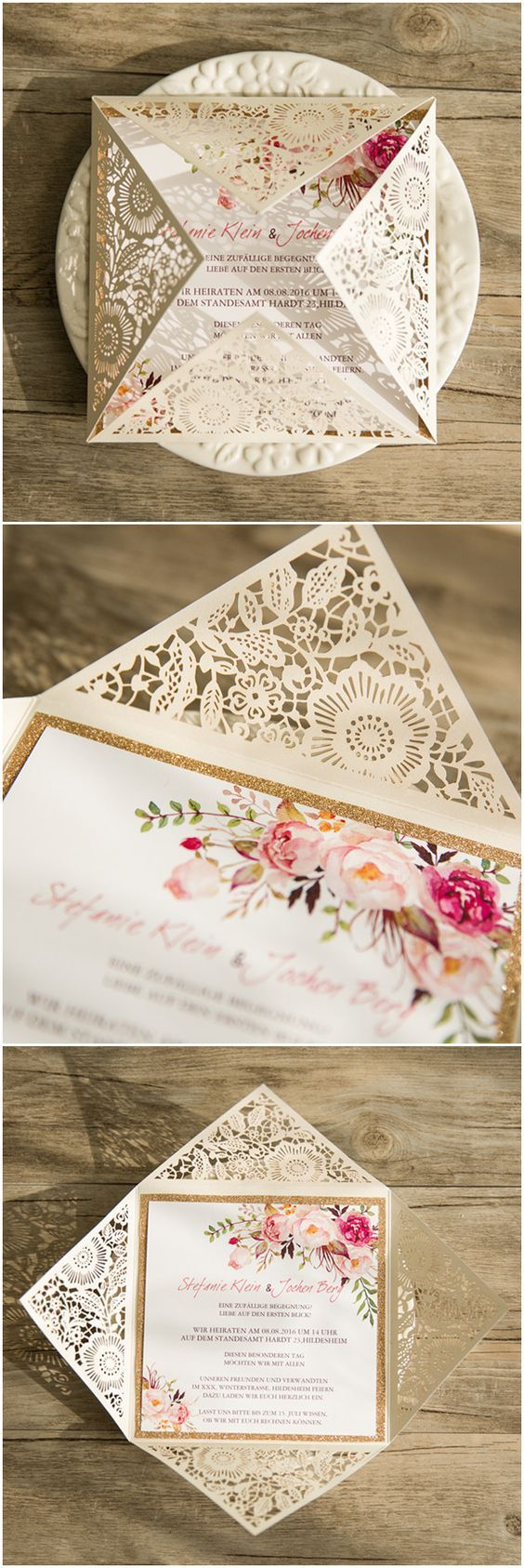 Bohemian rustic spring flower glittery gold laser cut invitations.