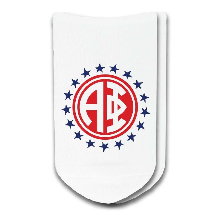 Alpha Phi Sorority Americana Circle No-Show Socks