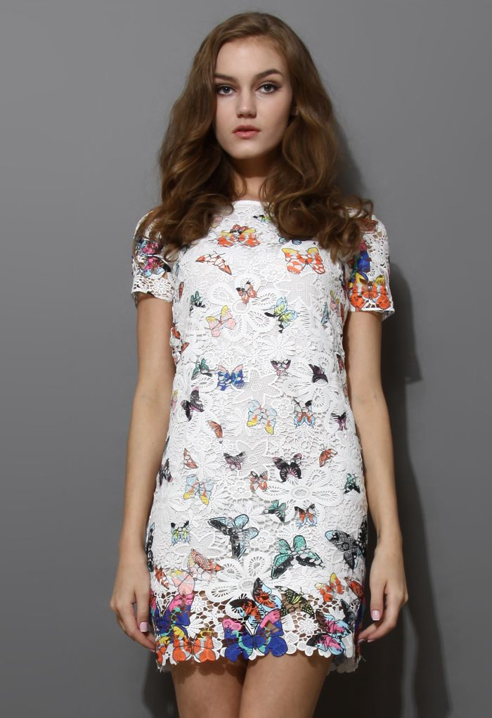 Full Crochet Butterfly Shift Dress - New Arrivals - Retro, Indie and Unique Fashion