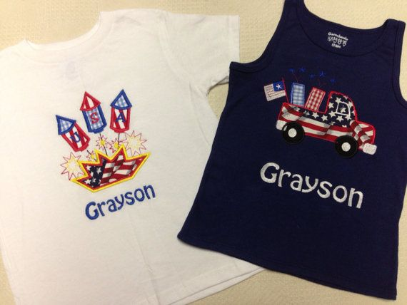 Personalized Fourth of July shirts by KidsKuteKreations on Etsy
