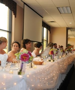 icicle lights on tables! LOVE: Pretty Lights, Lights Head, Christmas Lights, Tables Lights, Bridal Parties, Lights Ideas, Lights Draping, Bridesmaid Bouquets, Icicle Lights