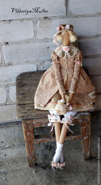 Купить кукла тильда ручной работы БАРЫШНЯ В ЦВЕТОЧЕК - бежевый, розовый