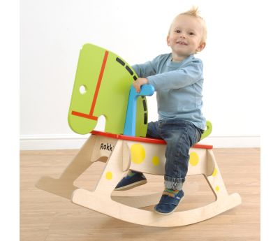 Rokki Rocking Horse, for fun day. he perfect gift for your child, Rokki Rocking Horse is handmade in the UK and built to last generations. A beautiful addition to any play or living environment, Rokki is hand painted with child friendly, water-based paints and decorated with brightly coloured screen printed graphics.  parents and tested by children and fully c