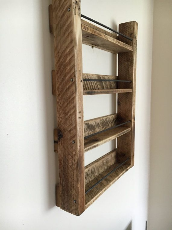 Rustic Spice Rack   Reclaimed Wood   Kitchen Storage   Wood Spice Rack    Handmade   4 Shelf Reclaimed Wood Spice Rack With Steel Rebar