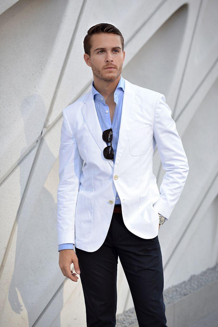 White blazer + light blue checkered shirt + navy pants