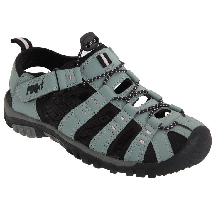 PDQ Womens/Ladies Toggle & Touch Fastening Sports Sandals (6 US) (Grey/Pink). Toggle & Touch Fastening Sports Sandal. Textile Lining. Synthetic Nubuck Upper. TPR Sole. Upper: Other, Lining: Textile, Sole: Other.
