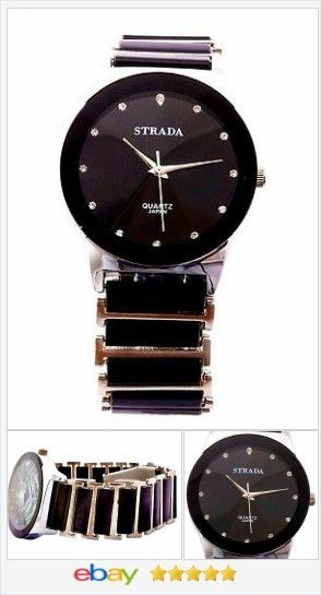 Black Ceramic Men's Gents Bracelet Watch Quartz Movement USA SELLER  | eBay  50% OFF #EBAY http://stores.ebay.com/JEWELRY-AND-GIFTS-BY-ALICE-AND-ANN