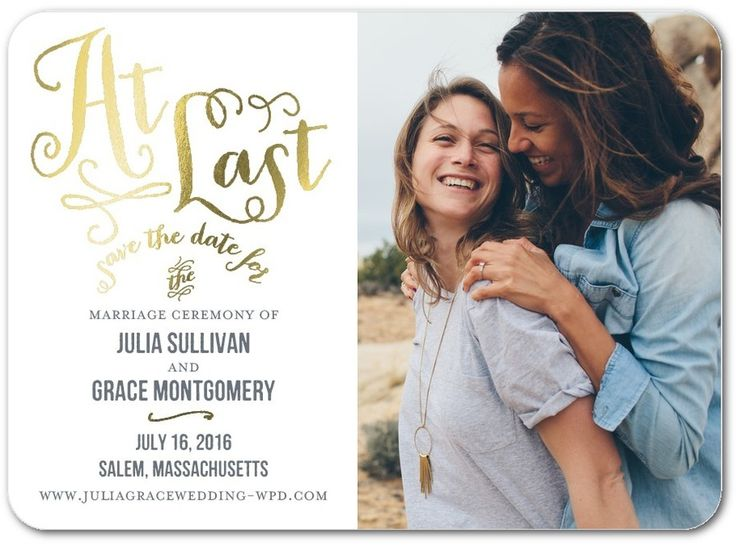 At Last - Signature Foil Save the Dates in Storm or Enchanted   Jenny Romanski