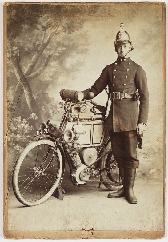 Fireman with a motorcycle, c1900, Edward Sweetland © National Media Museum.