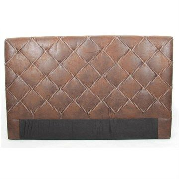 Chelmsford Quilted Faux Leather Queen Size Bed Head - Antique Brown