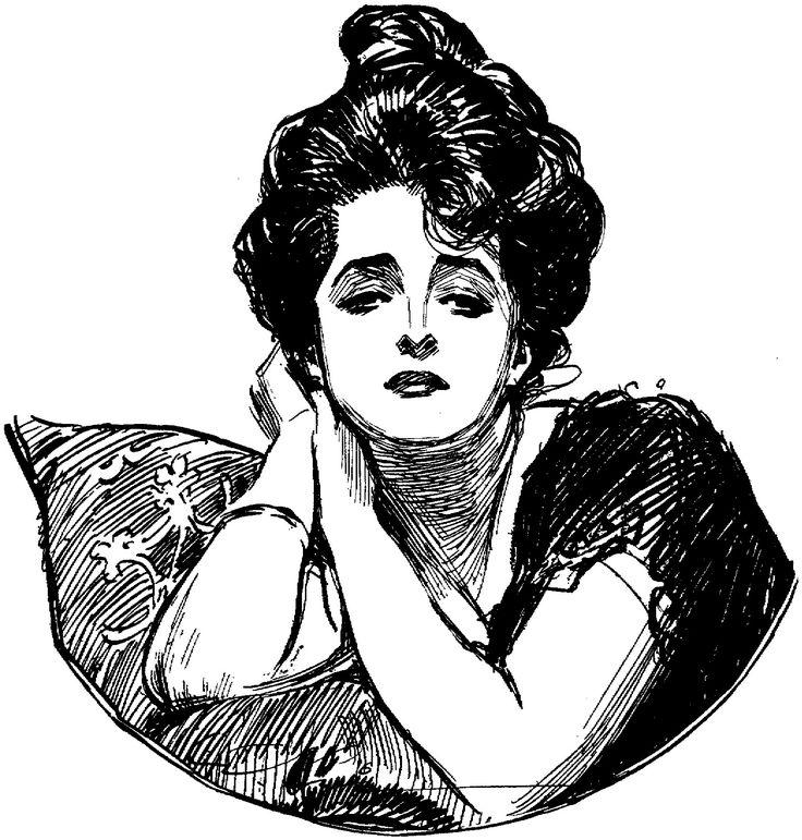 """Evelyn Nesbit  as """"the gibson girl"""" - Charles Dana Gibson"""