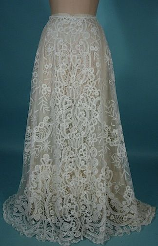 Brussels lace trained overskirt