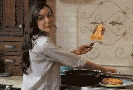 Sasha making pancakes.
