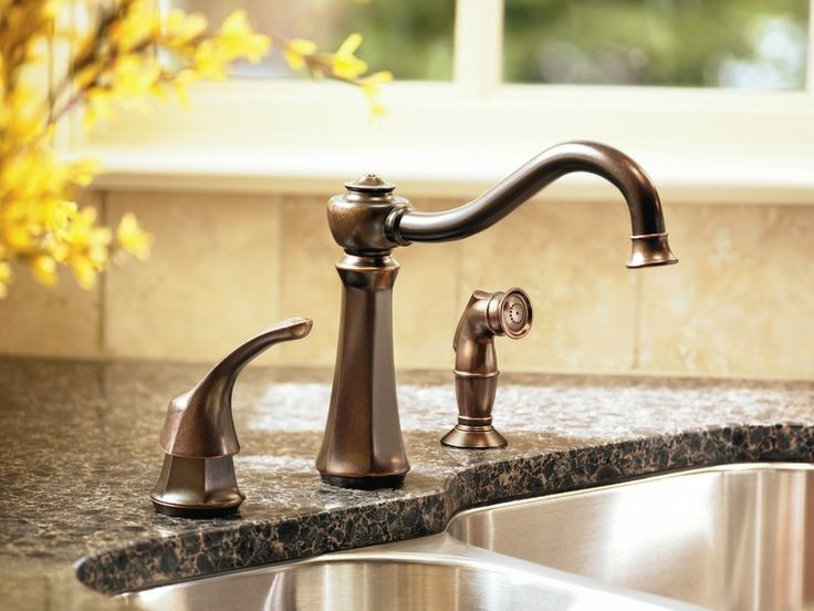 Moen 7065ORB Vestige Single Handle Kitchen Faucet With Matching Sidespray  In Oil Rubbed Bronze