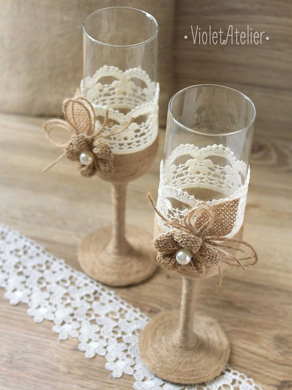 Rustic Lace Burlap Toasting Flutes Champagne by VioletAtelier