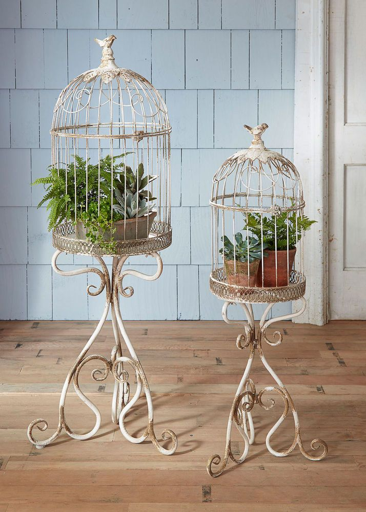 Se2 Distressed Ivory Metal Wedding Decor Bird Cage On Stand Shabby