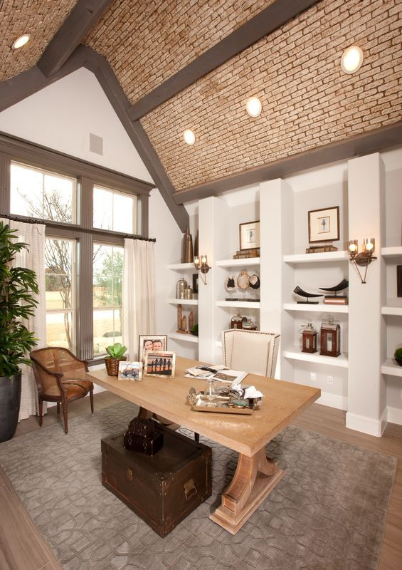 Elevate your home office with a vaulted ceiling and for Vaulted ceiling exposed beams
