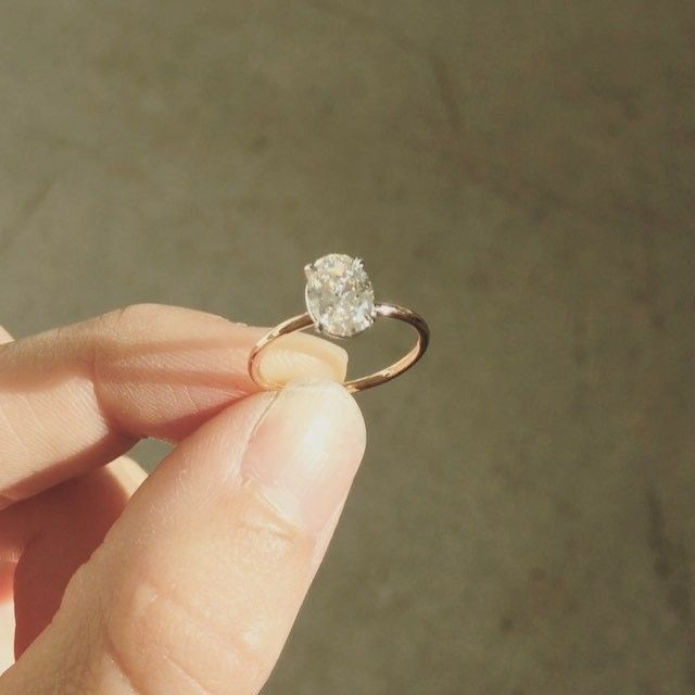 Finishing touches to this beauty which made its way out of the studio last week to make someone's weekend. Handmade fine solitaire for an oval cut diamond.