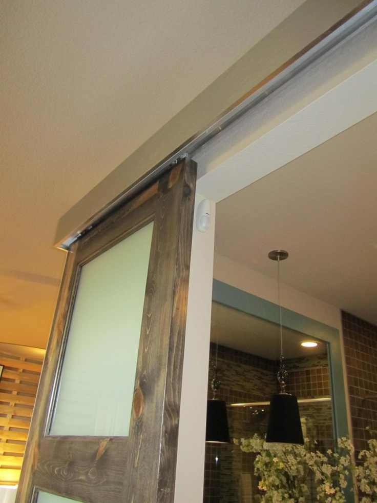 Barn doors w frosted glass doors pinterest for Frosted glass barn door