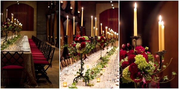 Rehearsal Dinner setting at Merryvale, Napa Valley using dramatic candelabra.