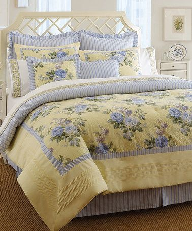 Love this Yellow Caroline Comforter Set by Laura Ashley Home on #zulily! #zulilyfinds