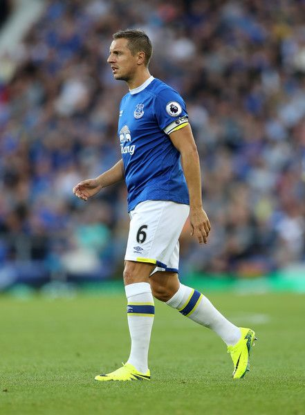 Phil Jagielka of Everton during the Premier League match between Everton and…