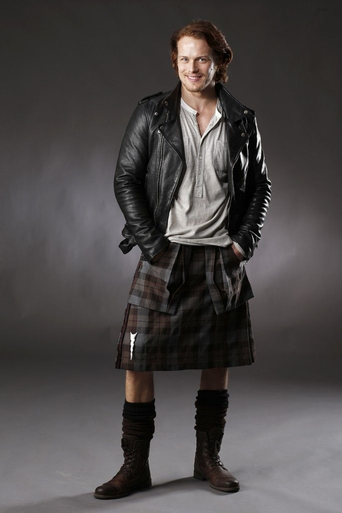 Sam Heughan = Jamie Fraser. I love the impish grin- and the contrast of the leather jacket with the kilt. | Outfitting 'Outlander' for 18th Century Scotland