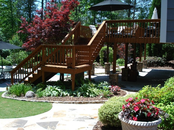 17 best images about landscape ideas on pinterest trees for Landscaping ideas around deck