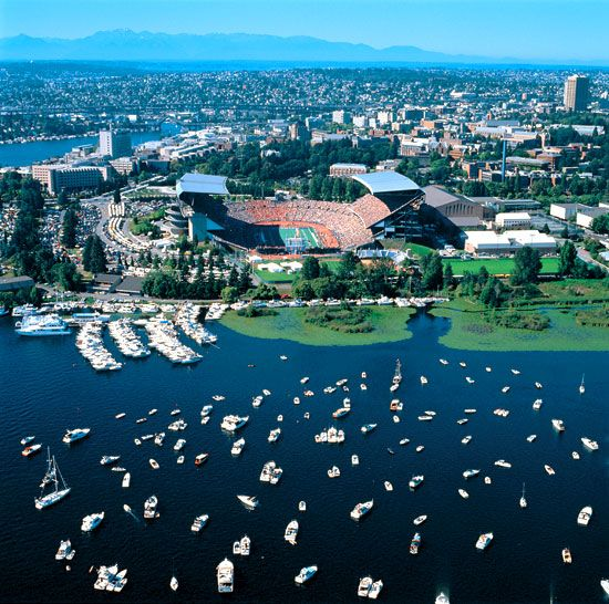 Husky Stadium at the University of Washington. Ok so I'm biased, but seriously, how incredible is it to go here?