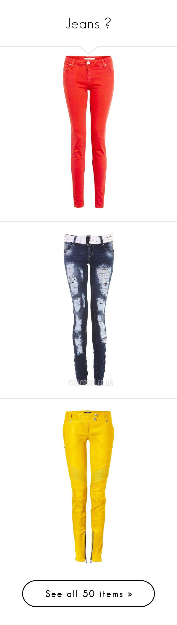 """""""Jeans ♥"""" by marijanakrasic ❤ liked on Polyvore featuring jeans, pants, bottoms, calças, pantalones, leather jeans, red rivet jeans, red leather skinny jeans, mid rise jeans and mid rise skinny jeans"""