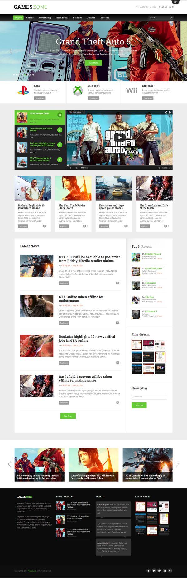 GamesZone - Gaming WordPress Theme by Themes Awards, via Behance