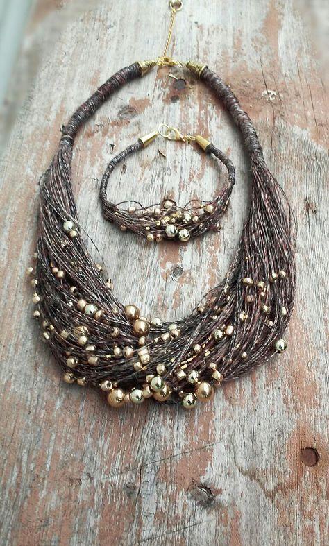 linen necklace, #linen jewellery, #natural jewellery, linen bracelet