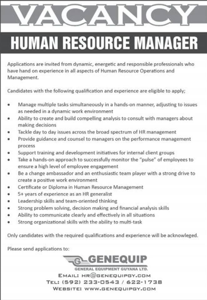 Human Resource Manager Operations Management Human Resources