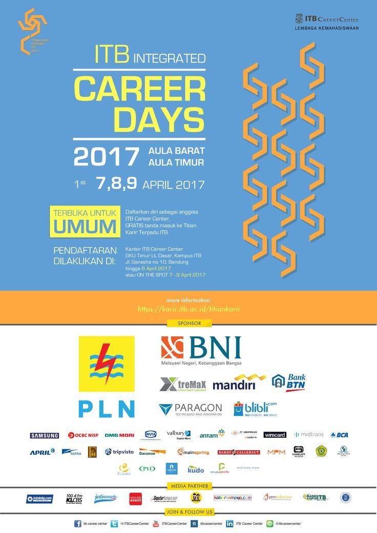 Titian Karir Terpadu ITB 2017 akan diselenggarakan pada tanggal 7 – 9 April 2017 di Aula Barat dan Aula Timur ITB, Bandung.  Untuk informasi lebih lanjut, silahkan lihat di >> http://bit.ly/TKT-ITB