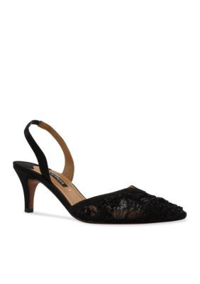 Kay Unger New York Women's Amberly Mid Heel Slingback Pump - Black - 6.5M
