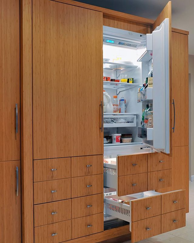 The Hidden Fridge We Designed In An Eco Friendly Green Kitchen In With  Bamboo Cabinetry Part