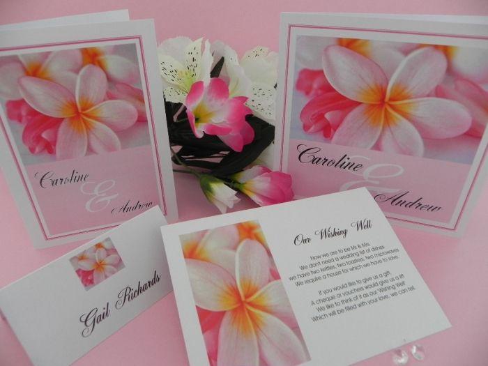 Soft Pink Frangipani Wedding Invitations