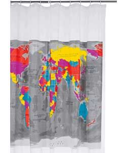 Habitat Mappa Shower Curtain.#ArgosRoomInspiration