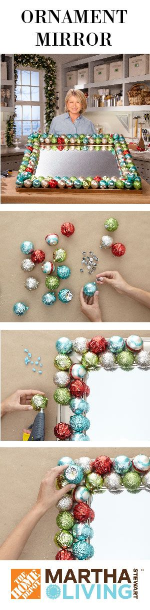 Dress up your entryway with this ornament mirror project from Martha. #HowToHoliday