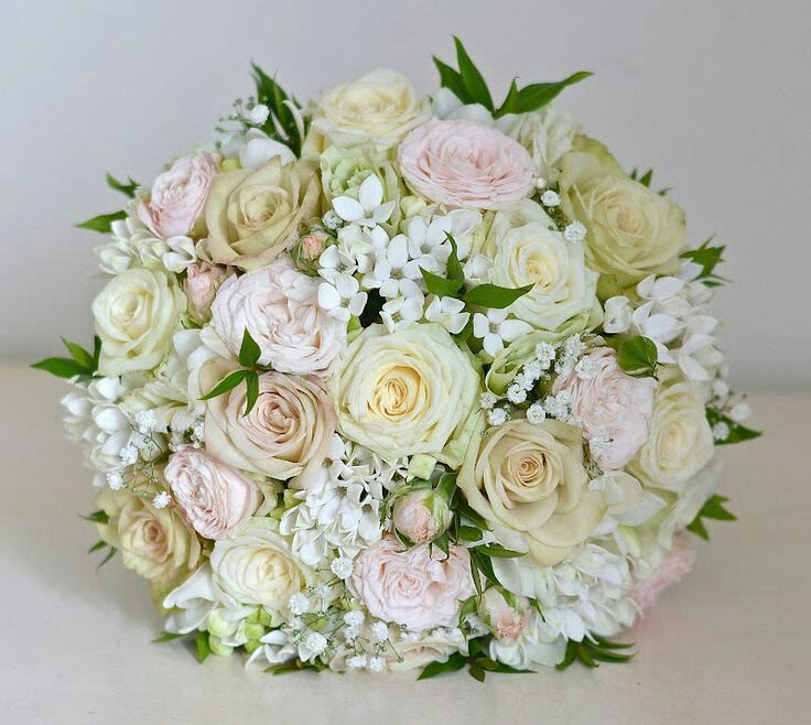 Round Wedding Bouquet Showcasing Cream Blush Champagne Roses White Bouvardia Greenery