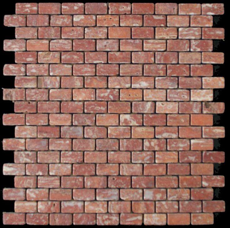 Mozaika marmurowa -  Kolekcja: Brico 1530; Kod: B153010; Wykończenie: ANTICO; Materiał: Travertino Red; Wym. Kostki: 1,5x3,0 cm; Wym. Plastra: 30,0x30,0 cm