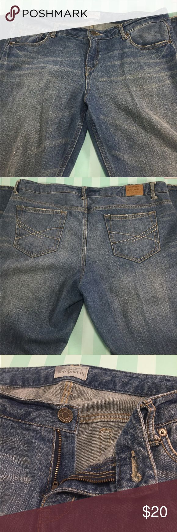 "AEROPOSTALE ""Hailey"" Flare Antique Wash Blue Jeans AEROPOSTALE ""Hailey"" Flare Antique Wash Blue Jeans in ladies size 13/14 long. 99% cotton, 1% spandex. Antique brown wash, whiskering, 3 front pockets, 2 back pockets, zip & button closure, & contrast stitching. Moderate wear to hems including fraying. All other signs of wear are original & intentional. Other than hems, these are in very nice preowned condition. Inseam is 35"". Overall 44"" top to bottom. Orig. $54. Aeropostale Jeans Flare…"