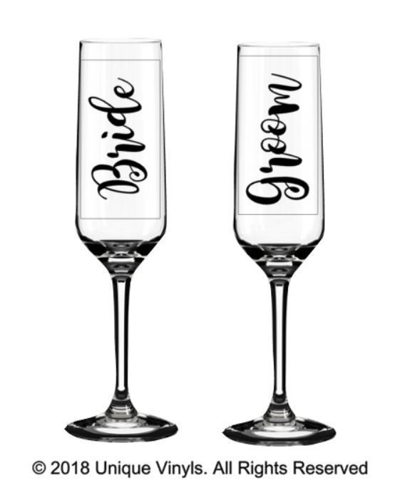 2 x Personalised nom wine glass Vinyle Sticker Décalque Wedding Bridesmaid Best on