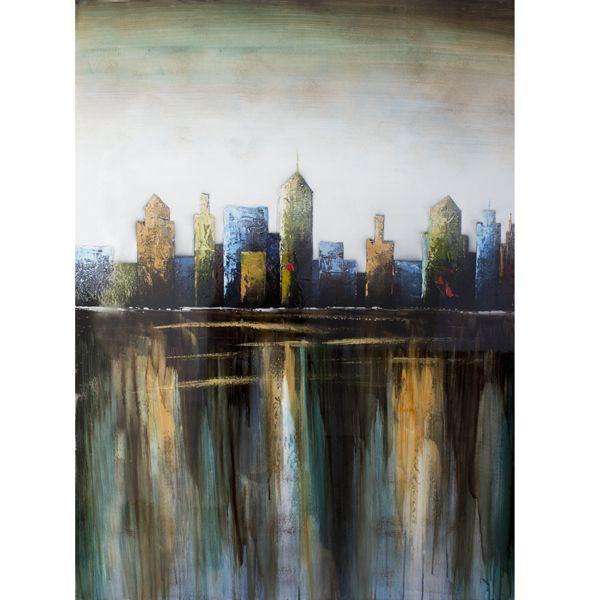 Tableau ville peint à la main à l'huile lustré 36x48''