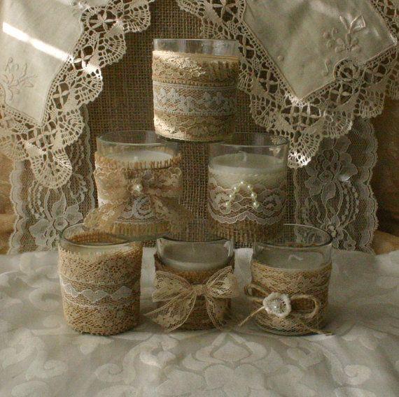 Velas de té de arpillera y encaje por Bannerbanquet en Etsy                                                                                                                                                                                 Más