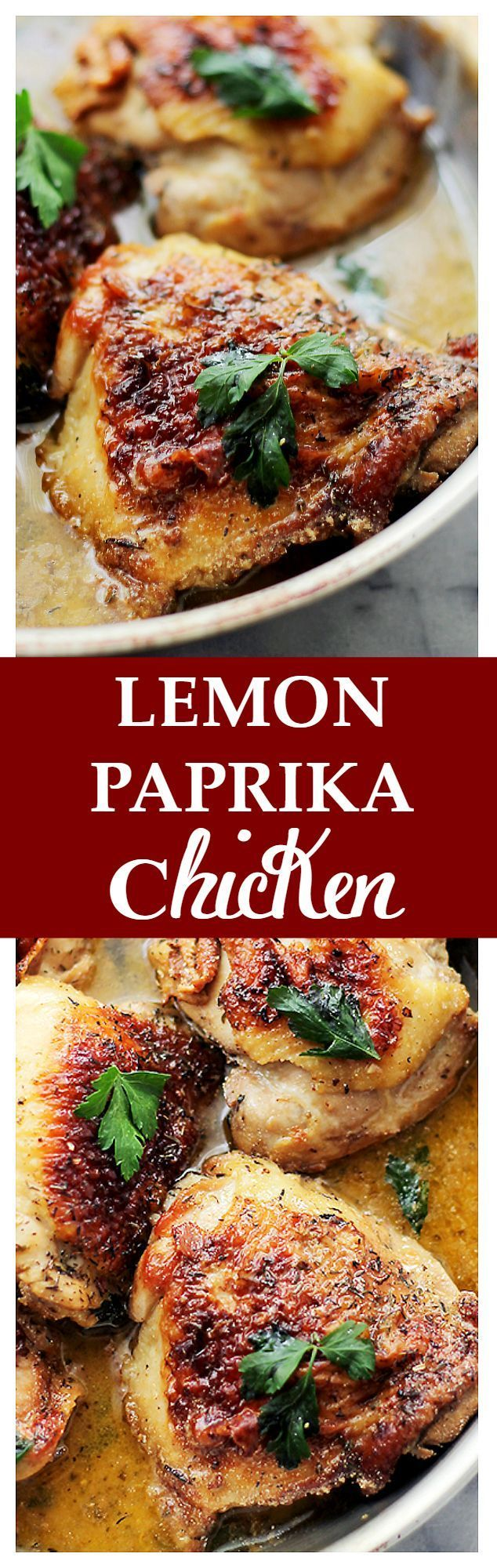 Lemon Paprika Chicken   www.diethood.com   Marinated in a lemon and paprika mixture with garlic and thyme, these incredible chicken thighs are quick and easy to make, and they are perfect for a weeknight meal.   #chicken #dinner #onepotmeals