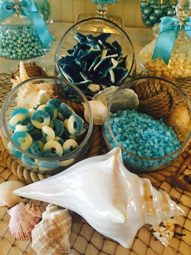 Delicious candy display at a beach themed wedding party! See more party planning ideas at CatchMyParty.com!