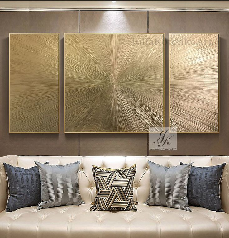Extra Large Wall Art Abstract Painting Set Of 3 Gold Leaf