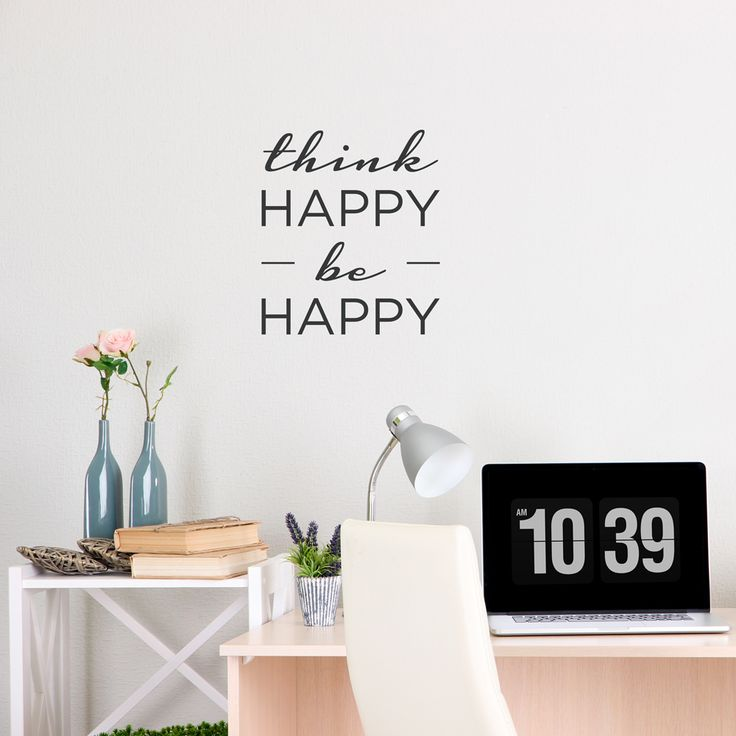 think happy be happy wall decal quote wallums wall decals