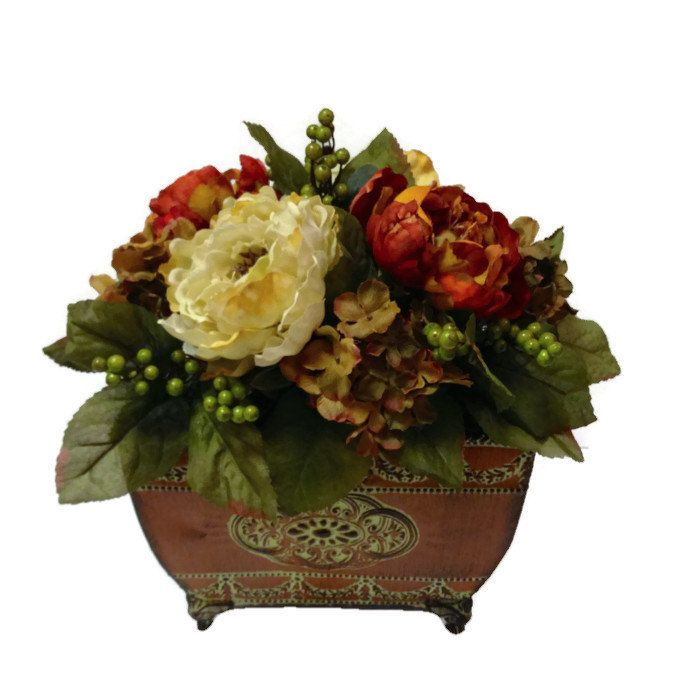 Rustic traditional peony berry hydrangea silk floral